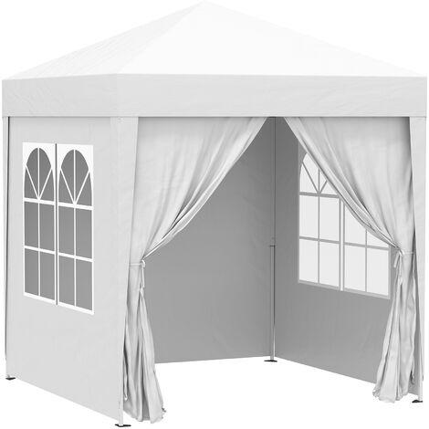 Tonnelle de jardin tente pliante barnum pop-up 2 x 2 m 4 parois latérales amovibles 2 fenêtres sac de transport pour camping, festival, plage, jardin, blanc