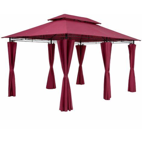 Tonnelle de jardin Topas 3x4 m Tente de réception avec toile hydrofuge Pavillon pergola 2,60 m Mobilier extérieur Rouge