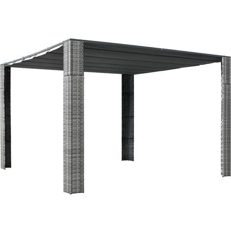 Tonnelle et toit Résine tressée 300x300x200cm Gris / anthracite