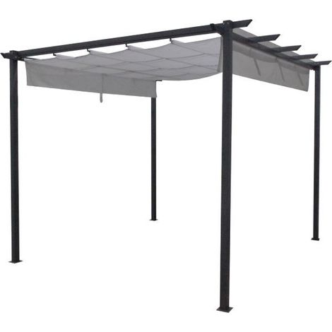 Tonnelle ou abris de jardin à toit rétractable gris clair