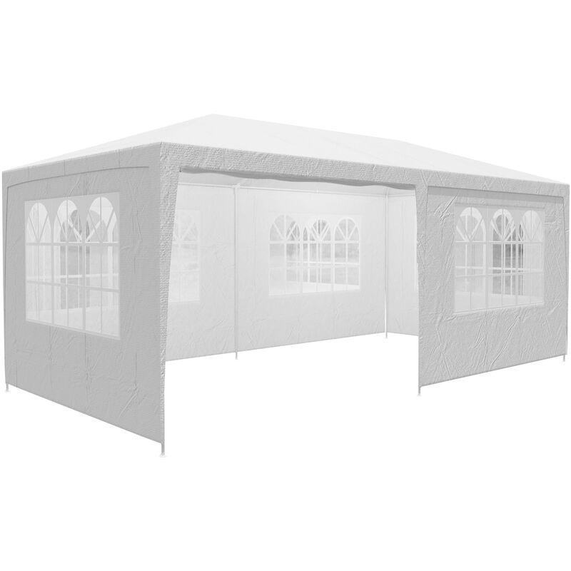 Tonnelle de jardin Rimini 3x6m avec toile hydrofuge 6 parois latérales enroulables Barnum Tente de réception fête extérieur Blanc (Protection UV)