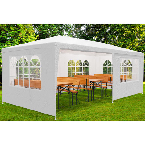 Tonnelle pavillon 3x6m blanc - Barnum tente de jardin réception fenêtres