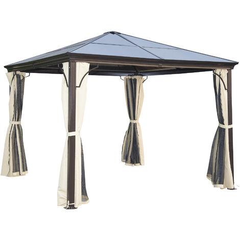 Tonnelle pavillon de jardin imperméable 4 parois latérales anti-UV 4 moustiquaires panneaux polycarbonate alu 3L x 3l x 2,6H m chocolat beige