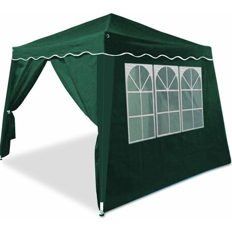 Tonnelle pavillon de jardin pliable 3x3m - 4 parois latérales avec fenêtres Vert
