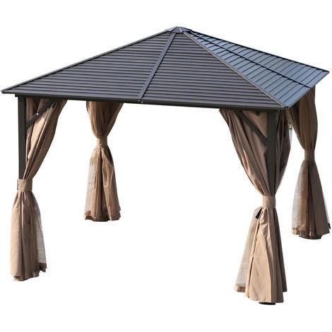 Tonnelle pavillon de jardin rigide panneaux toit alu. et métal époxy ...