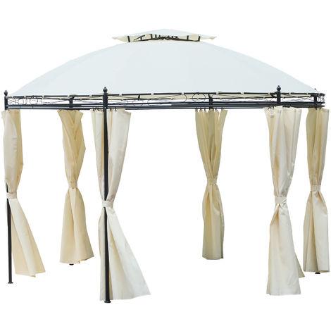 Tonnelle pavillon de jardin rond dim. Ø 3,5L x 2,75H m double toit 6 rideaux latéraux polyester crème métal époxy noir