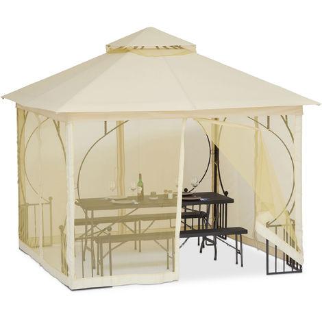 Tonnelle Pergola 3x3 m 4 côtés pavillon chapiteau réception mariage rideaux imperméable polyester, champagne