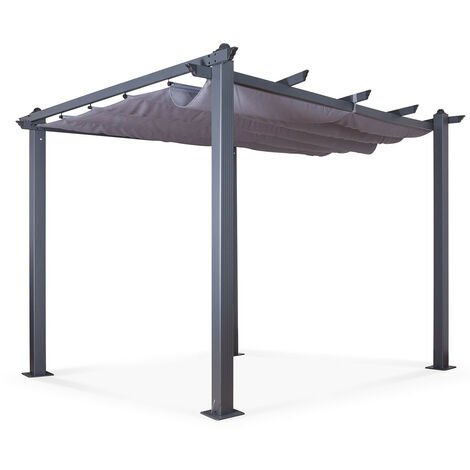 Tonnelle/Pergola aluminium 3x3m toile coulissante rétractable - Gris Anthracite - Hero