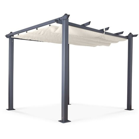 Tonnelle/Pergola aluminium 3x3m toile coulissante rétractable - Gris Ecru - Hero - Gris