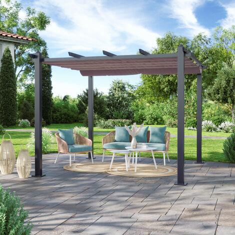 Tonnelle/Pergola aluminium 3x3m toile coulissante rétractable - Gris Taupe - Hero