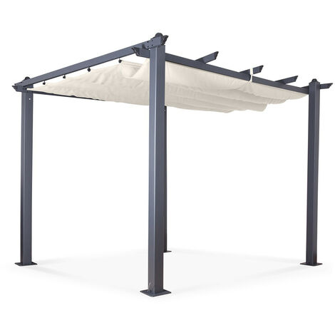 Tonnelle/Pergola aluminium 3x3m toile coulissante rétractable - Gris Taupe - Hero - Grey
