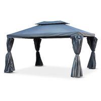 Tonnellepergola Aluminium 3x4m Rideaux Coulissants Tente De Jardin Gris Roma