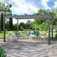 Tonnelle/Pergola aluminium 3x4m toile coulissante rétractable - Gris - Hero XL