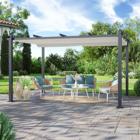 Tonnelle/Pergola aluminium 3x4m toile coulissante rétractable - Gris Taupe - Hero XL - Gris