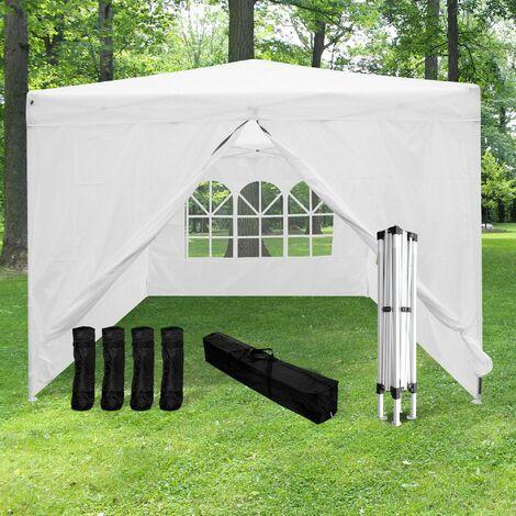 """main image of """"Tonnelle Pliable 3x3 m + 4 Paroies Blanches + Kit de Lestage - Tonnelle Barnum Pliant et avec 4 Murs en Toile 210D (160MG/M2) - Tente Pliable Idéale pour Reception en Exterieur - Blanc"""""""