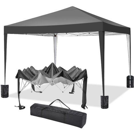 """main image of """"Tonnelle pliante à angle droit 3x3M instantané imperméable UV extérieur hauteur ajustable avec transport sac Noir - Noir"""""""