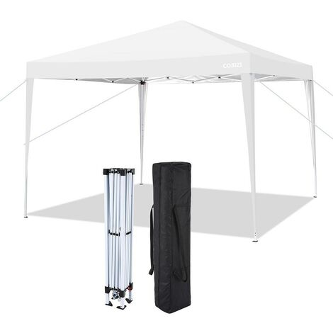 Tonnelle pliante à angle droit 3x3M instantané imperméable UV extérieur hauteur ajustable avec transport sac Blanc - Blanc