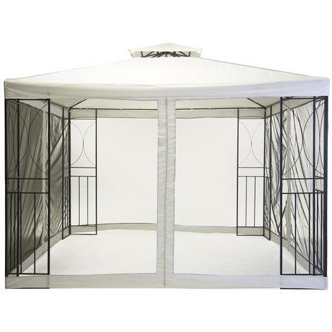 Tonnelle - rideau en mesh noir/moustiquaire - acier ouvragé - crème - 3 x 3 m