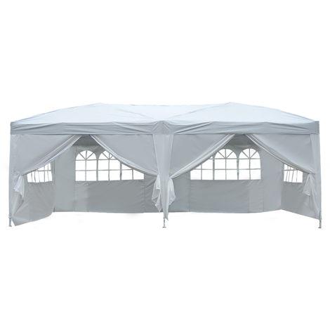 Tonnelle tente de reception pliante pavillon chapiteau barnum 3 x 6 m blanc cote demontables