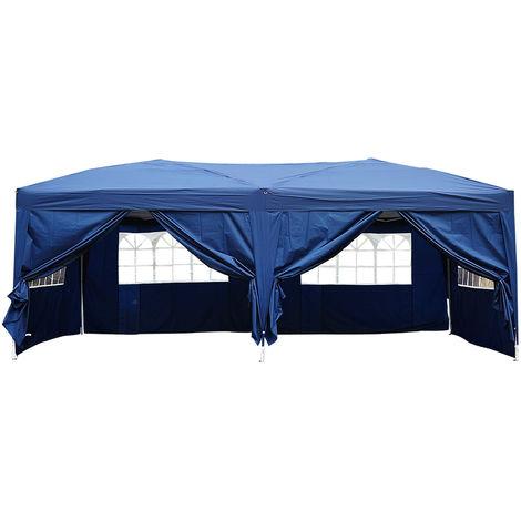 Tonnelle tente de reception pliante pavillon chapiteau barnum 3 x 6 m bleu cote demontables