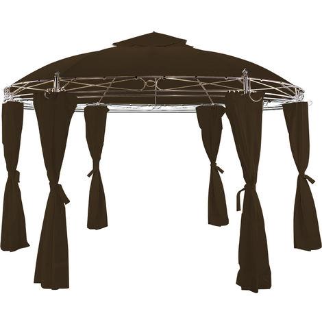 Tonnelle Toscana Brun 3,5 m - Pavillon - Tente de jardin - Barnum rond Jardin