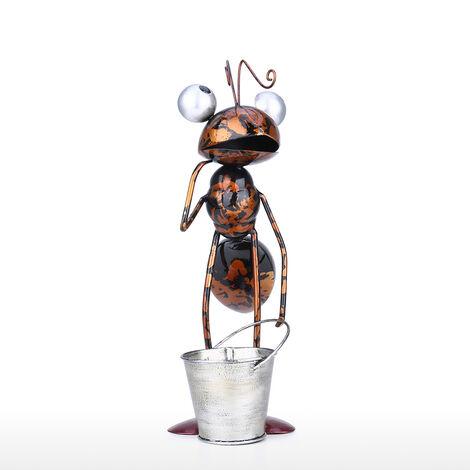 Tooarts 13inch Ant escultura de hierro de dibujos animados hormiga extraible cubo o jardin decoracion de la oficina suculento de maceta de flores baratija de almacenamiento, Cafe