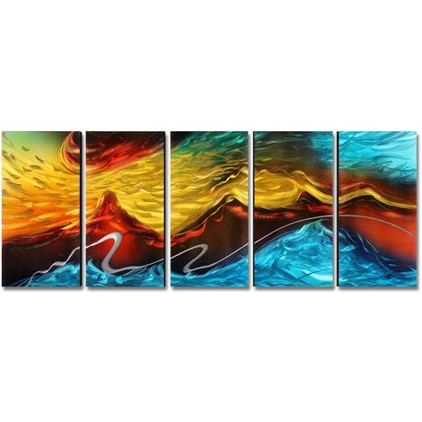 Tooarts Abstraite Moderne Peinture, 5 Panneaux, Hanging Decorations Murales