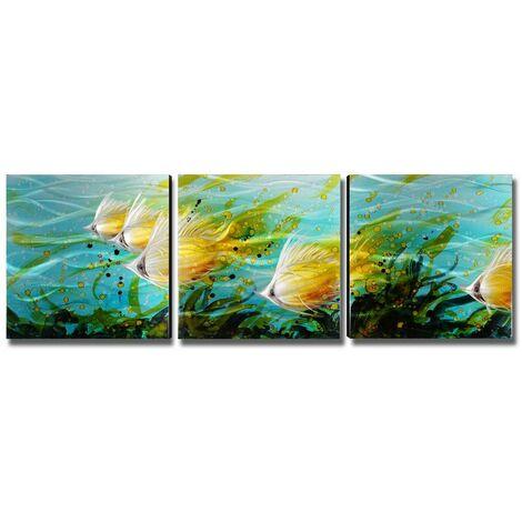 Tooarts ecole de poisson decoration murale peinture peintures modernes decoration de la maison 3 photos couleur