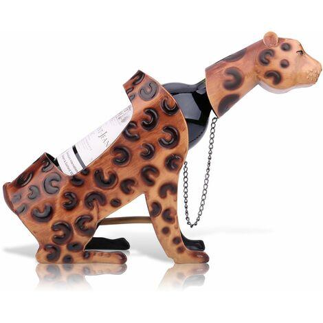 Tooarts Leopard Vin etagere, Sculpture En Metal, Decoration D'Interieur Artisanat