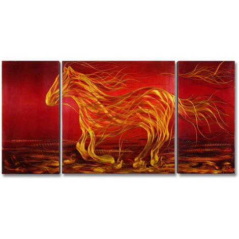 "Tooarts Metal Moderne Oeuvre D'Art Running Horse, 3 Panneaux, 48""X24"", Rouge"