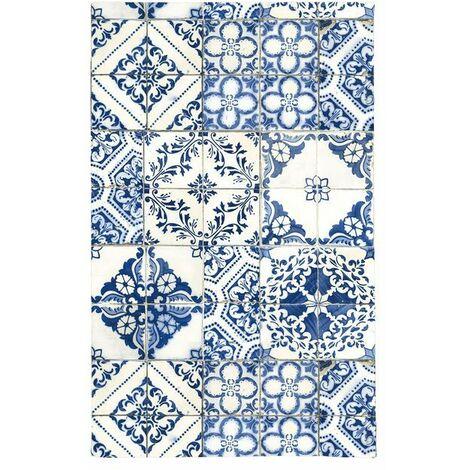 TOODOO - <p>Tapis motifs carreaux de ciment bleu 45x75</p> - Bleu