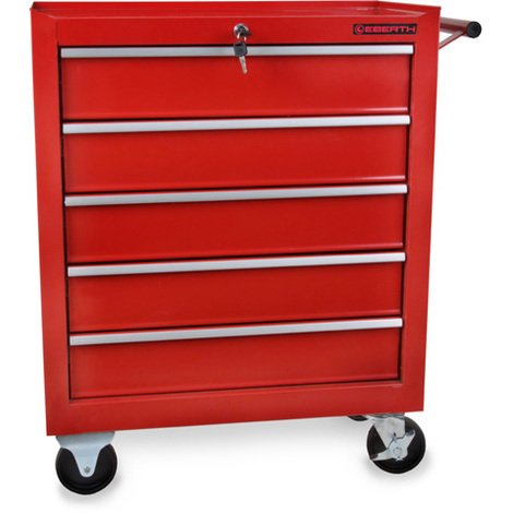 Tool Cabinet (5 Drawers, Anti-slide Mats, 4 Castors, Fixing Brake, Lockable, Powder Compacted) Roller Chest Toolbox Organizer