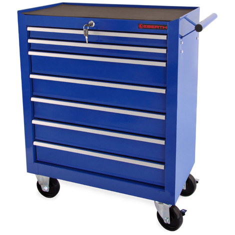 Tool Cabinet (7 Drawers, Anti-slide Mats, 4 Castors, Fixing Brake, Lockable, Powder Compacted) Roller Chest Toolbox Organizer