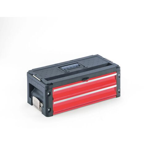 Tool case 2 drawers module extension red