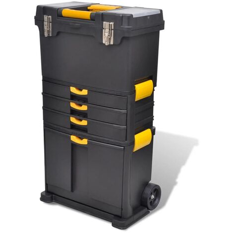 Tool Case Chest Tool Trolley Portable - Black