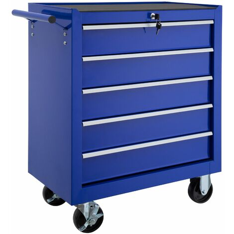 Tool chest with 5 drawers - tool box, tool box on wheels, tool cabinet - blue