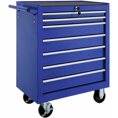 Tool chest with 7 drawers - tool box, tool box on wheels, tool cabinet - blue