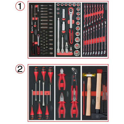 Tool composition KS TOOLS - For trolley - 2 drawers - 114 pcs - 714.0114
