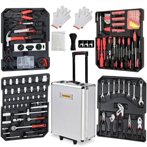 Tool Kit Set Case Trolley Box Hand Workshop Garage Household Aluminium Toolbox