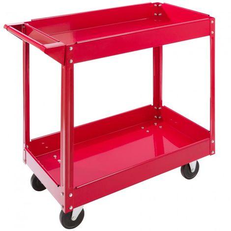 Tool Trolley 2 Level Mobile Workshop Trolley Cart Storage Shelf on Wheels