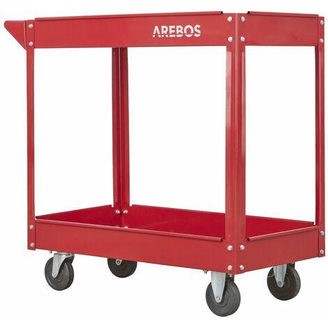 Tool Trolley 2 Level Mobile Workshop Trolley Cart Storage Shelf on Wheels - rot