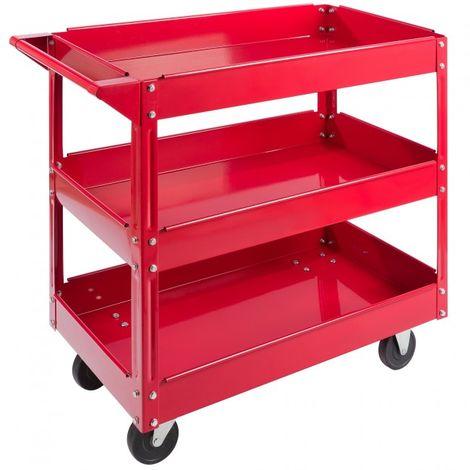 Tool Trolley 3 Level Mobile Workshop Trolley Cart Storage Shelf on Wheels