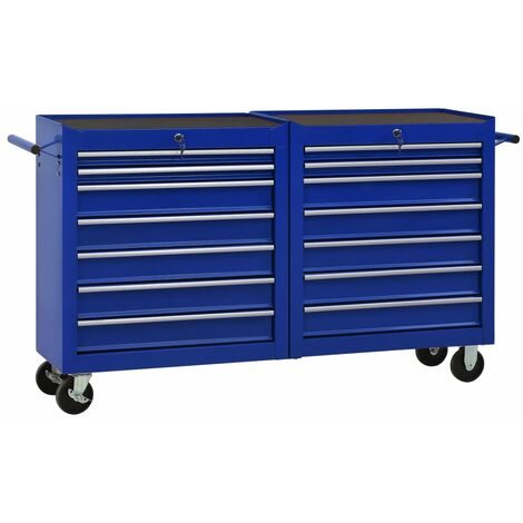 Tool Trolley with 14 Drawers Steel Blue (147181+147182)