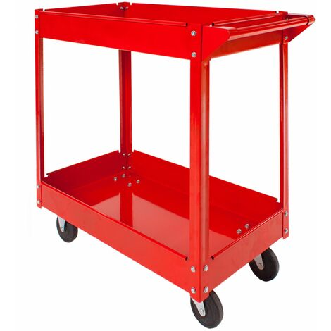 Tool trolley with 2 shelves - heavy duty trolley, warehouse trolley, metal trolley - red