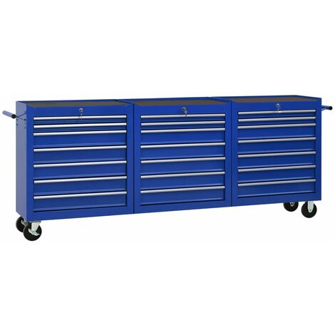 Tool Trolley with 21 Drawers Steel Blue (147181+2x147182)