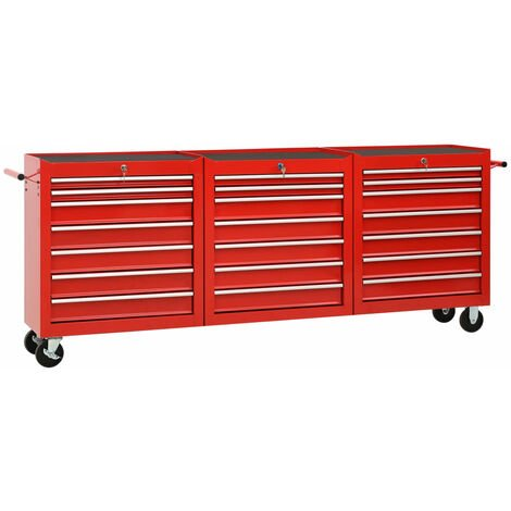 Tool Trolley with 21 Drawers Steel Red (147177+2x147178)
