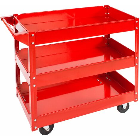 Tool trolley with 3 shelves - heavy duty trolley, warehouse trolley, metal trolley - red