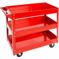 Tool trolley with 3 shelves - heavy duty trolley, warehouse trolley, metal trolley - red