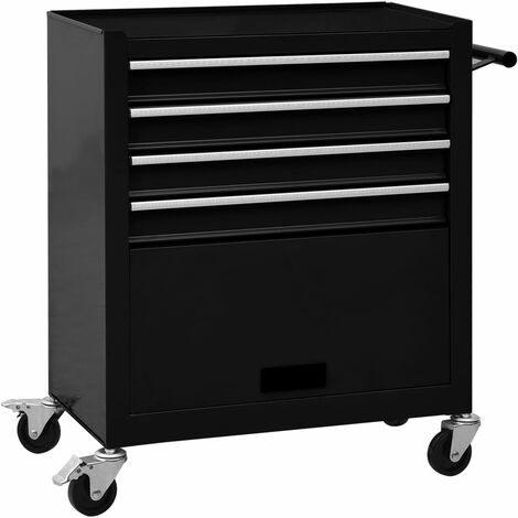 Tool Trolley with 4 Drawers Steel Black