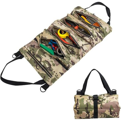 Toolbag with 5 zipped pockets, 600D Oxford Portable Tool Bag, Roll Auto Organizer Tool Tool for Electrician Plumber or Mechanic (Camouflage)